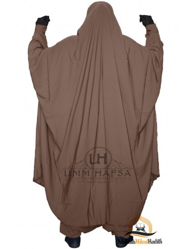 "Jilbab deux pieces à Zip ""Sarouel"" Umm Hafsa- Marron"