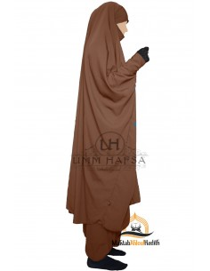 "Two Piece Jilbab Snap Buttons ""Sirwel"" Umm Hafsa - Cinnamon"