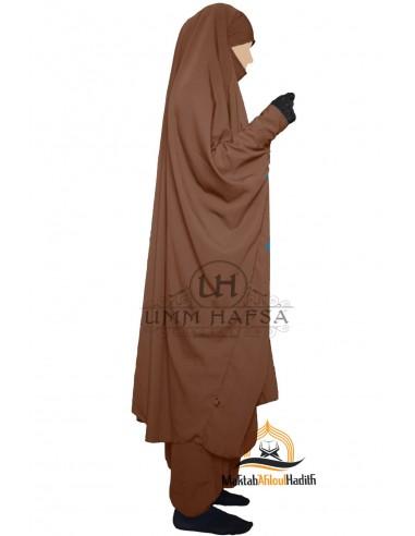 """Jilbab deux pieces à clips """"Sarouel"""" Umm Hafsa- Cannelle"""