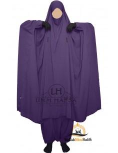 "Two Piece Jilbab Snap Buttons ""Sirwel"" Umm Hafsa- Eggplant"