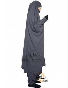 """Zweiteilige Jilbab Snap Buttons """"Sirwel"""" Umm Hafsa- Grey"""