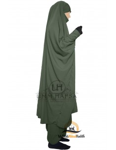"Two Piece Jilbab Snap Buttons ""Sirwel"" Umm Hafsa - Grean"