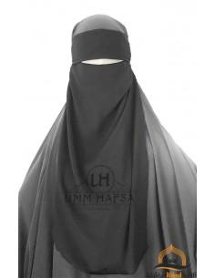 Niqab 1 voile ajustable Umm Hafsa - Noir