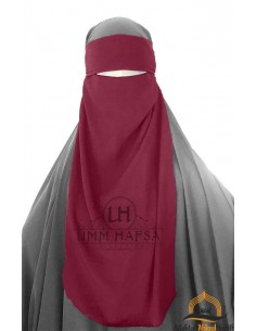 One Layer Niqab adjustable Umm Hafsa - Burgundy
