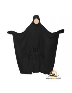 """Jilbab Saoudien Classique Umm Hafsa """"CAVIARY LUXE"""" - Noir"""