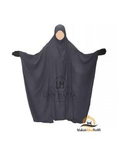"Jilbab Saoudien Classique Umm Hafsa ""CAVIARY LUXE"" - Gris"