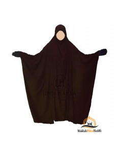 "Jilbab Saoudien Classique Umm Hafsa ""CAVIARY LUXE"" - Marron"