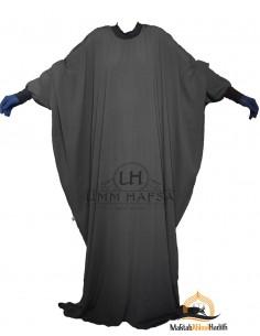 "Abaya Lycra Umm Hafsa ""Luxury Caviary"" – Black"