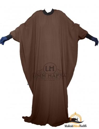 "Abaya Lycra Umm Hafsa ""Luxury Caviary"" – Brown"