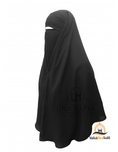 Two Piece Niqab with Snap Buttons Umm Hafsa 1m25 - Black