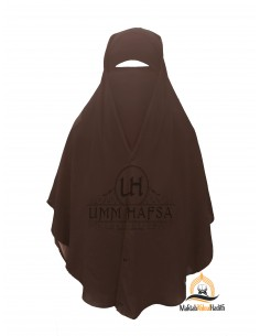 Two Piece Niqab with Snap Buttons Umm Hafsa 1m25 - Brown