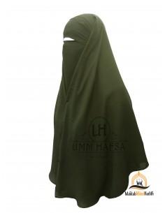 Niqab 2 Pièces à Clips Umm Hafsa - Kaki