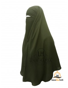 Two Piece Niqab with Snap Buttons Umm Hafsa 1m25 - Green