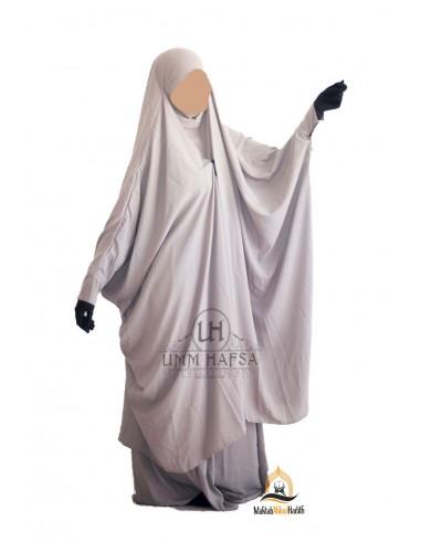 "Jilbab 2 pieces à clips ""jupe"" Umm Hafsa - Taupe"