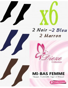 MI-BAS Dieze Opaque - lot de 6 (noir-bleu-marron)