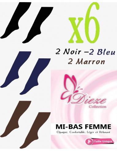 MI-BAS Dieze Opaque - lot de 6 (noir - bleu - marron)