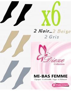 MI-BAS Dieze Opaque - lot de 6 (noir-beige-gris)