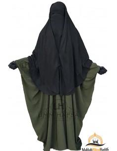 Niqab 2 Pièces à Clips Umm Hafsa 1m50 - Noir