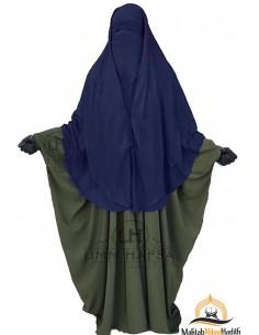 Niqab 2 Pièces à Clips Umm Hafsa 1m50 - Bleu