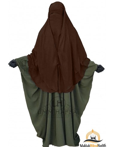 Niqab 2 Pièces à Clips Umm Hafsa 1m50 - Marron