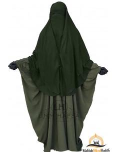 Niqab 2 Pièces à Clips Umm Hafsa 1m50 - Kaki