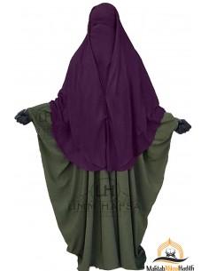 Niqab 2 Pièces à Clips Umm Hafsa 1m50 - Prune