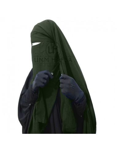Niqab/Sitar cape à clips Umm Hafsa 1m60 - kaki