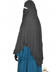 Niqab/Sitar cape à clips Umm Hafsa 1m50 - Noir