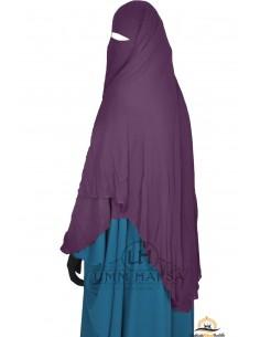 Niqab/Sitar cape à clips Umm Hafsa 1m50 - Prune