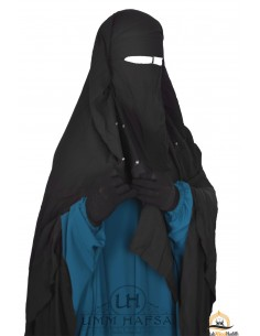 Niqab Cape Flap with Snap Buttons 1m40 - black