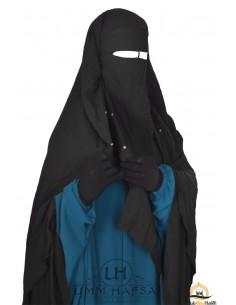 Niqab/Sitar cape à clips Umm Hafsa 1m40 - Noir
