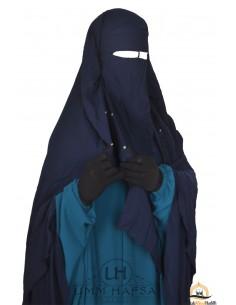 Niqab/Sitar cape à clips Umm Hafsa 1m40 - Bleu
