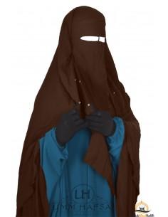 Niqab/Sitar cape à clips Umm Hafsa 1m40 - Marron