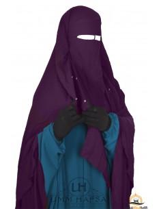 Niqab/Sitar cape à clips Umm Hafsa 1m40 - Prune