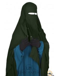 Niqab/Sitar cape à clips Umm Hafsa 1m40 - kaki