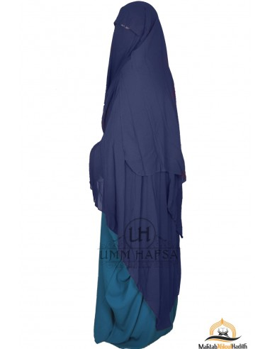 Three Layer Flap Niqab Cap 1m60 Umm Hafsa - Blue
