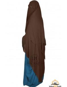 Three Layer Flap Niqab Cap 1m60 Umm Hafsa - Brown