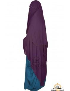 Three Layer Flap Niqab Cap 1m60 Umm Hafsa - Plum