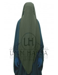 Three Layer Flap Niqab Cap 95cm Umm Hafsa - Khaki