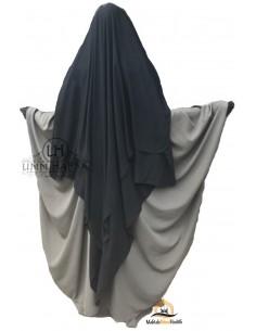 Three Layer Flap Niqab Cap 1m50 Umm Hafsa - Black