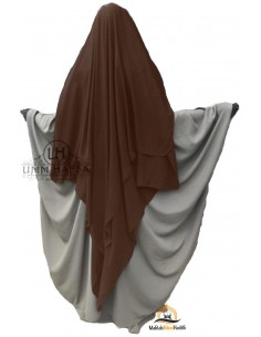 Three Layer Flap Niqab Cap 1m50 Umm Hafsa - Brown