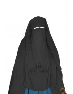 Three Layer Flap Niqab Cap 1m25 Umm Hafsa - Black
