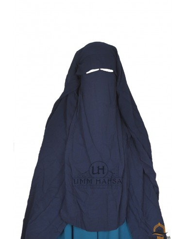 Three Layer Flap Niqab Cap 1m25 Umm Hafsa - Blue