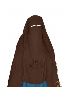 Three Layer Flap Niqab Cap 1m25 Umm Hafsa - Brown