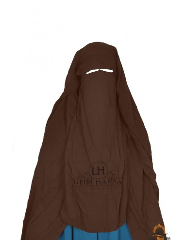 Three Layer Flap Niqab Cap 1m25 Umm Hafsa - Brown