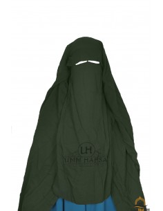Three Layer Flap Niqab Cap 1m25 Umm Hafsa - Khaki