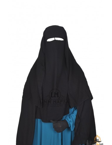 Niqab/Sitar 3 voiles Umm Hafsa 1m25 - Noir