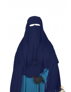 Niqab/Sitar 3 voiles Umm Hafsa 1m25 - Bleu