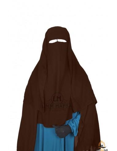Niqab/Sitar 3 voiles Umm Hafsa 1m25 - Marron
