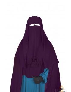 Niqab/Sitar 3 voiles Umm Hafsa 1m25 - Prune